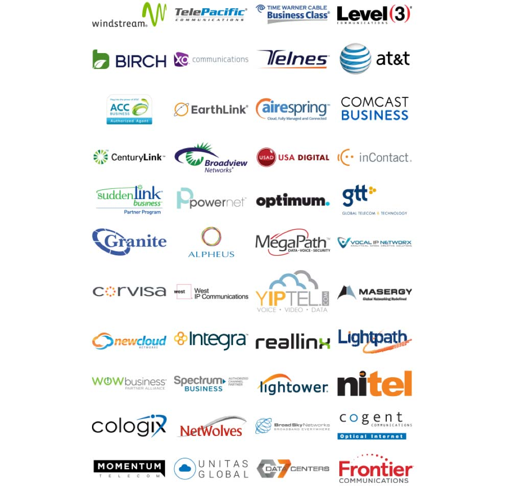logos of many telecom partners